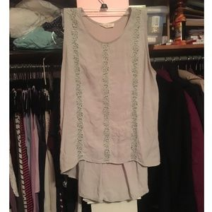 Grey blouse with lace detailing and rouche back